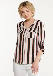 Plus Size Striped Zip Front Top
