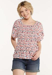 Plus Size Smocked Floral Top