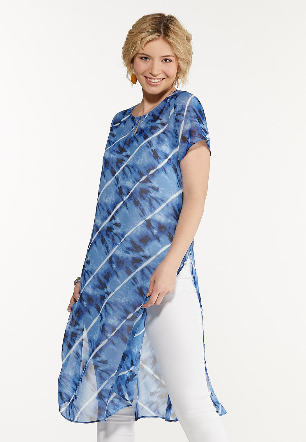 Plus Size Sheer Tie Dye Tunic