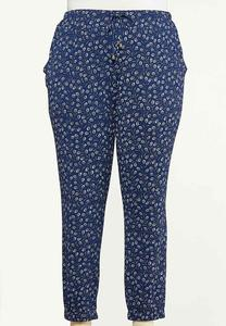 Plus Size Peacock Feather Joggers