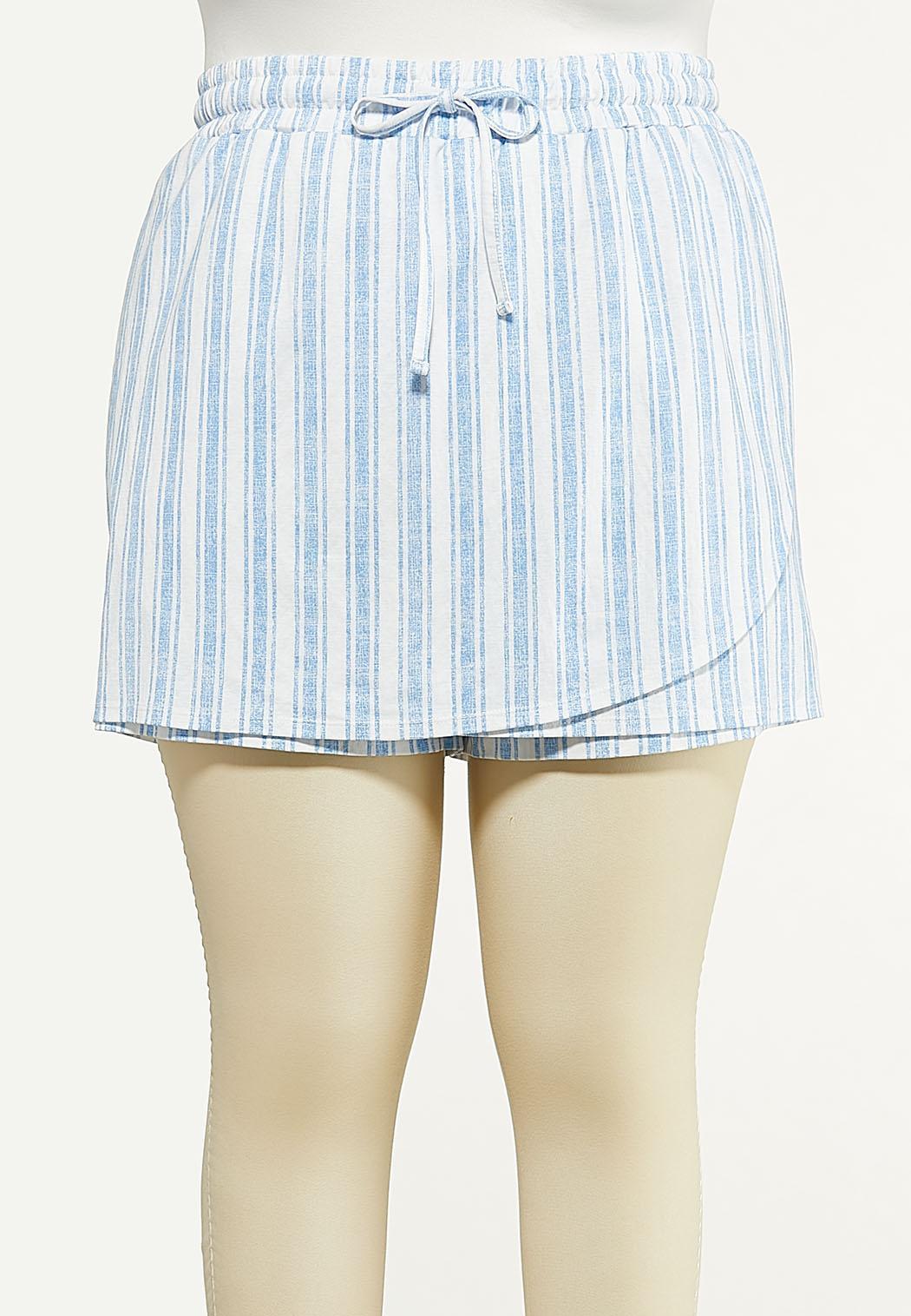 Plus Size Stripe Knit Skort