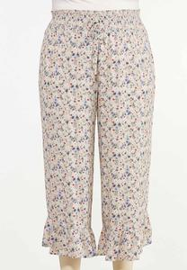 Plus Size Cropped Ruffled Floral Pants