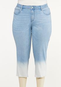 Plus Size Cropped Ombre Jeans