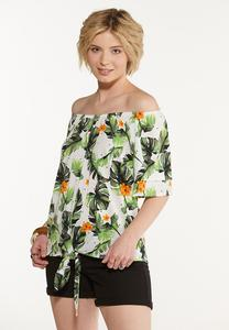 Plus Size Tropical Tie Front Top