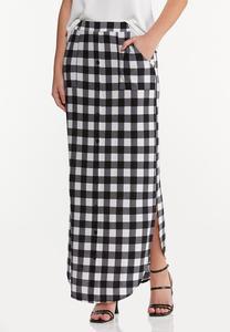Plus Size Gingham Maxi Skirt