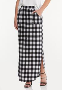 Plus Size Gingham Maxi Skirt