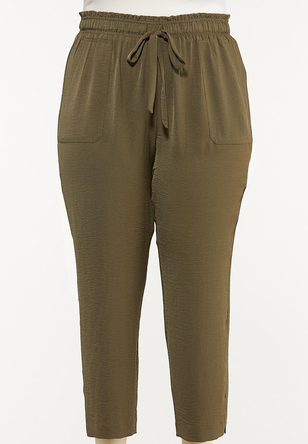 Plus Size Olive Track Pants