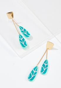 Tropical Leaf Linear Earrings