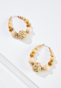 Natural Wood Hoop Earrings