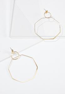 Metal Octagon Earrings