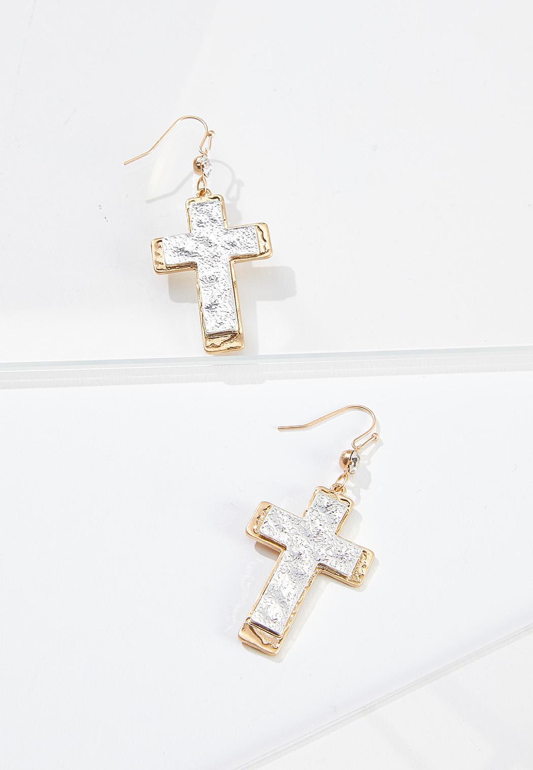 Two-Tone Cross Earrings