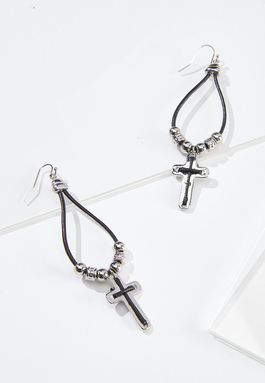 Beaded Cross Cord Earrings