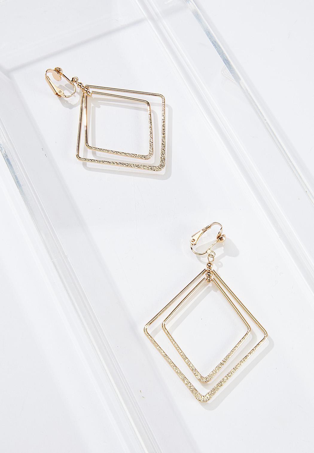 Metal Diamond Clip-On Earrings