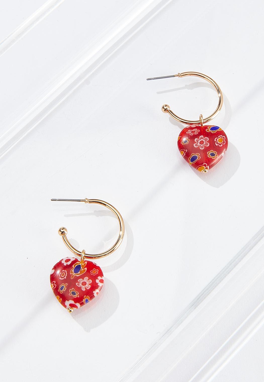 Mosaic Heart Hoop Earrings