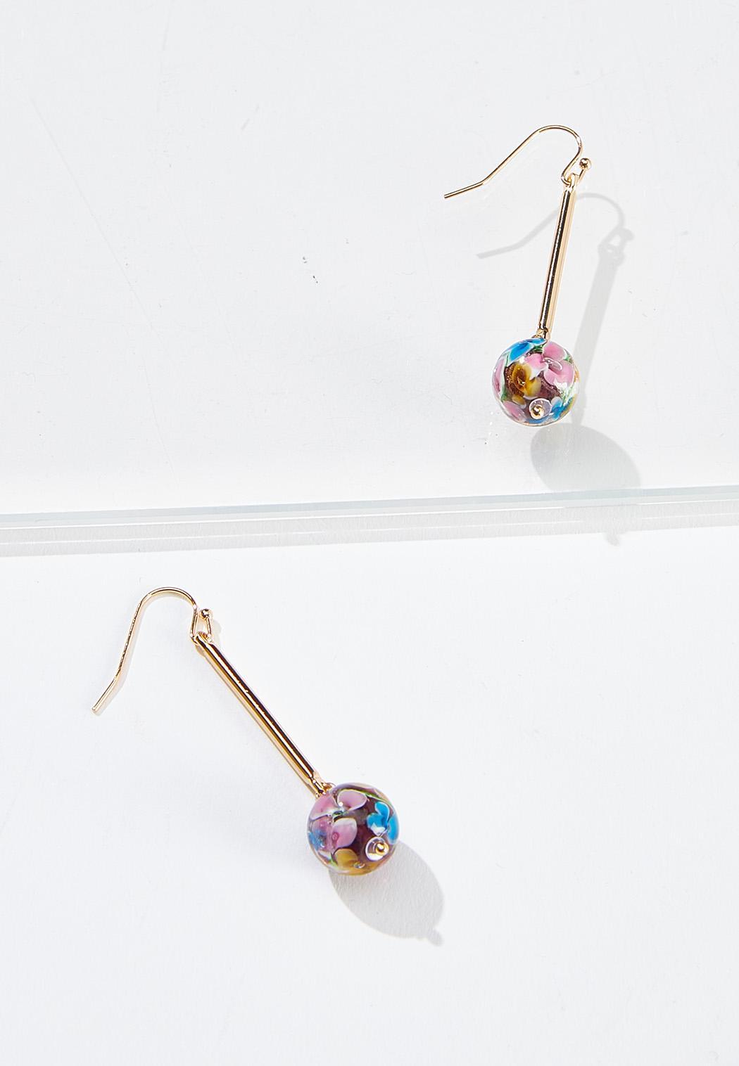 Glass Ball Linear Earrings