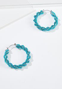 Blue Twist Seed Bead Hoop Earrings