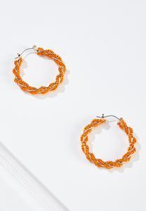 Orange Twist Seed Bead Hoop Earrings