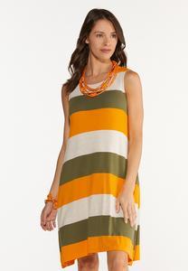 Plus Size Citrus Colorblock Dress