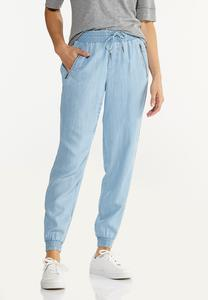 Petite Smocked Chambray Joggers