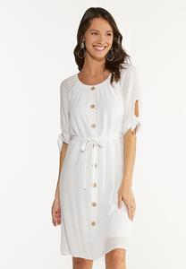 Plus Size Belted White Dress