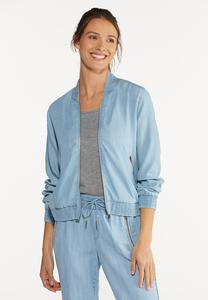 Plus Size Chambray Bomber Jacket