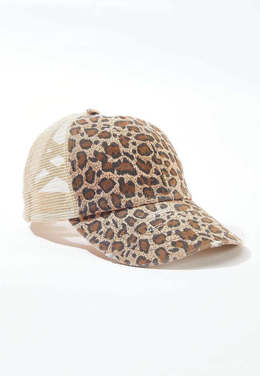Leopard High Ponytail Hat