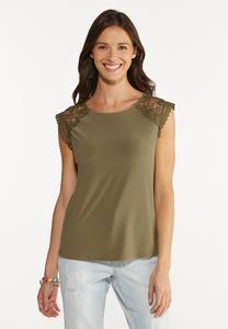 Plus Size Olive Lace Shoulder Top