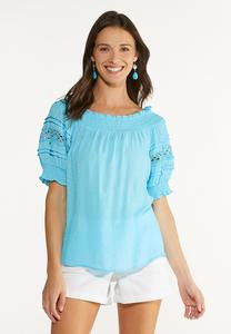 Puff Lace Sleeve Poet Top