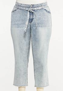 Plus Size Belted Straight Leg Jeans