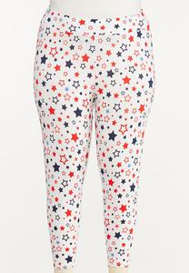 Plus Size Star Cropped Leggings