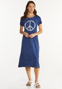 Plus Size Tie Dye Peace Shirt Dress