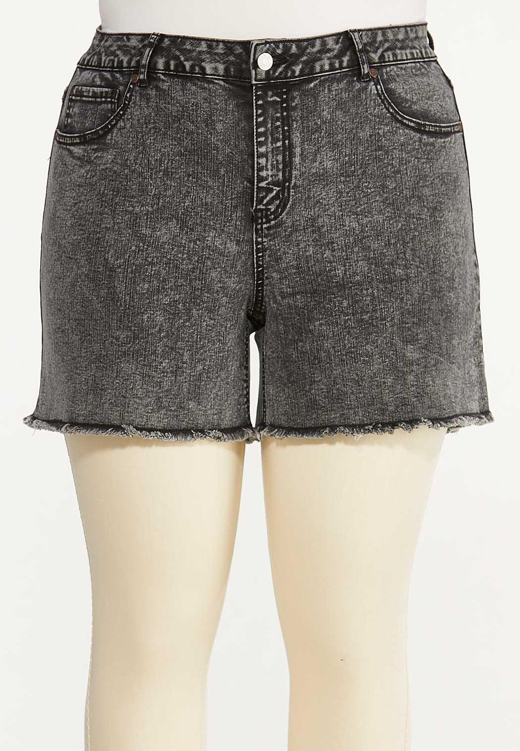 Plus Size Black Acid Wash Denim Shorts