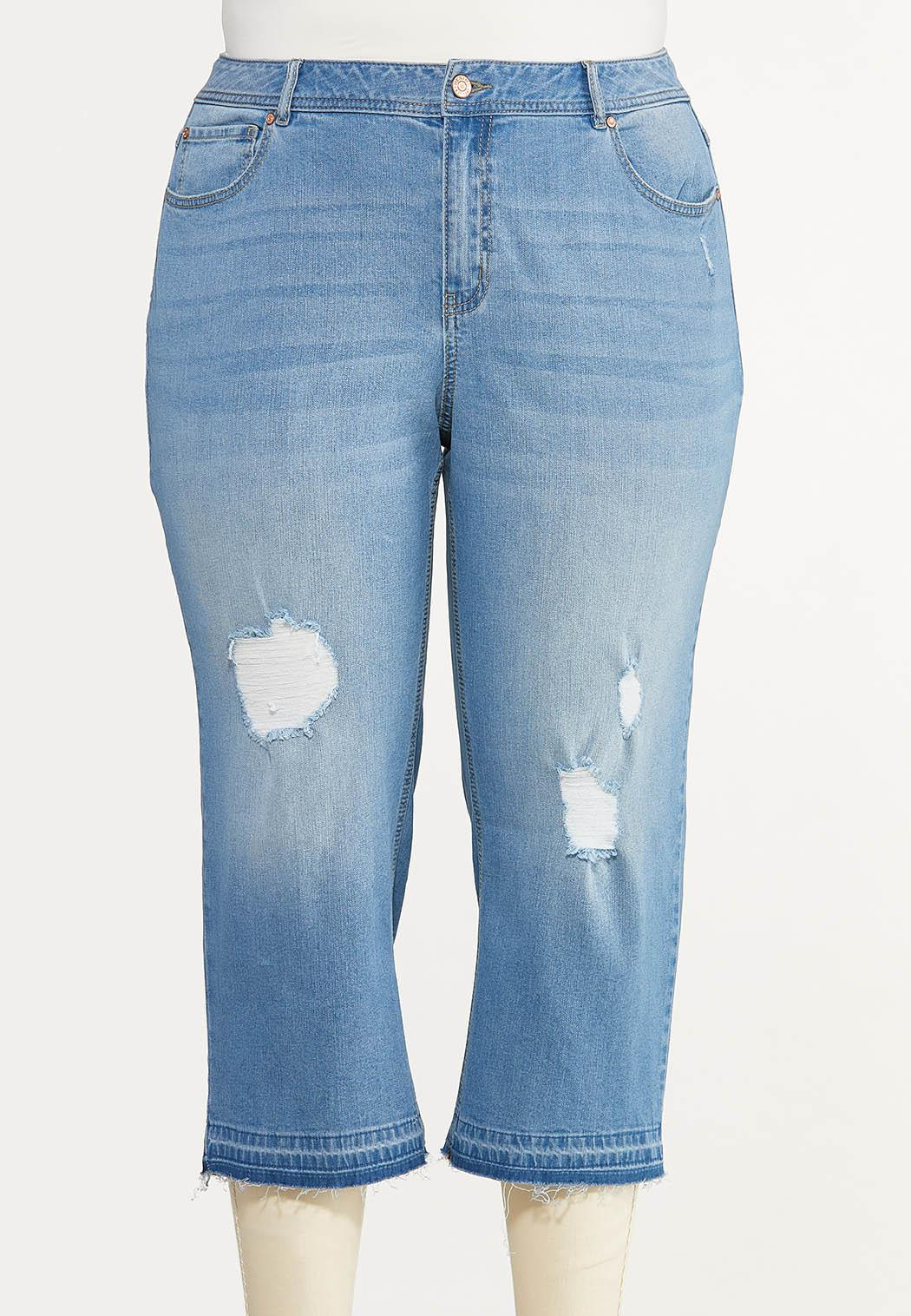 Plus Size Cropped Release Hem Jeans