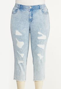 Plus Size Cropped Distressed Girlfriend Jeans