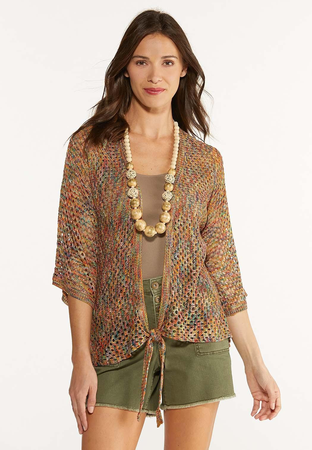 Plus Size Rainbow Cardigan Sweater