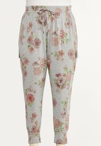 Plus Size Blush Floral Joggers
