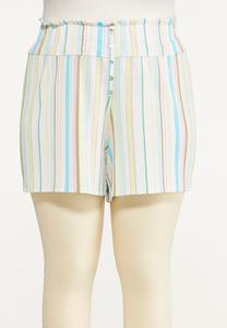 Plus Size Gauzy Summer Stripe Shorts