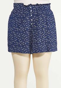 Plus Size Feather Gauze Shorts