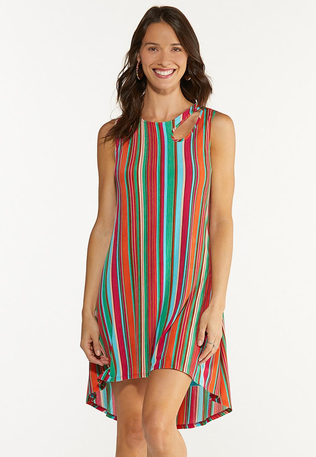 Plus Size Multi Stripe Ribbed Dress
