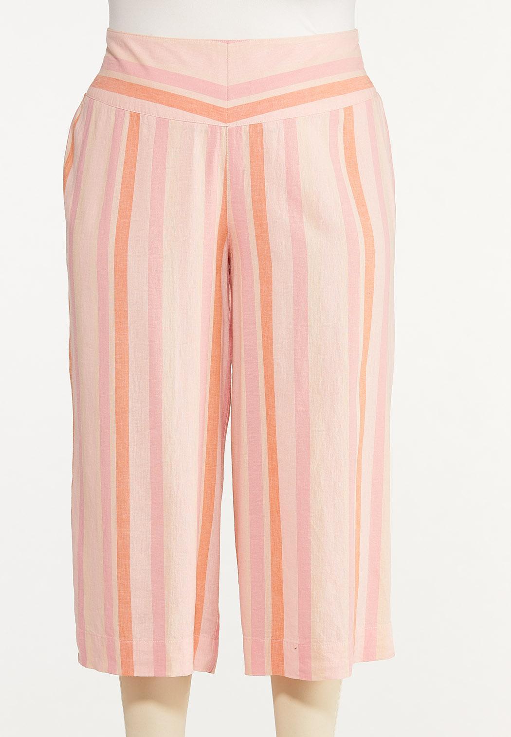 Plus Size Cropped Striped Linen Pants