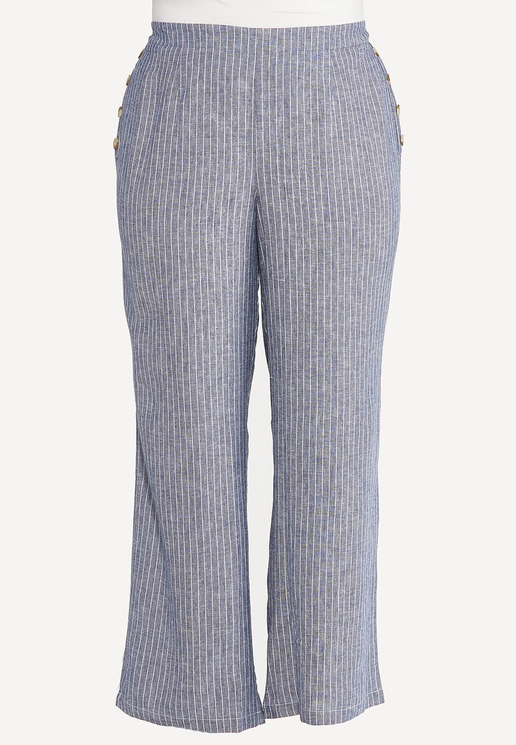 Plus Size Sailor Stripe Linen Pants