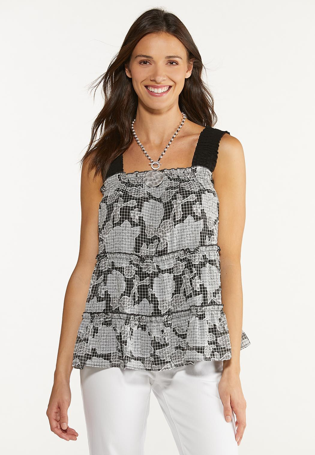 Plus Size Ruffle Check Floral Top