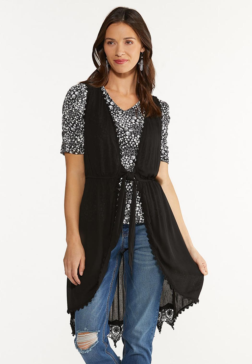 Plus Size Lace Trim Vest