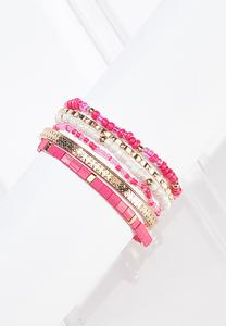 Stretch Bead And Bangle Bracelet Set