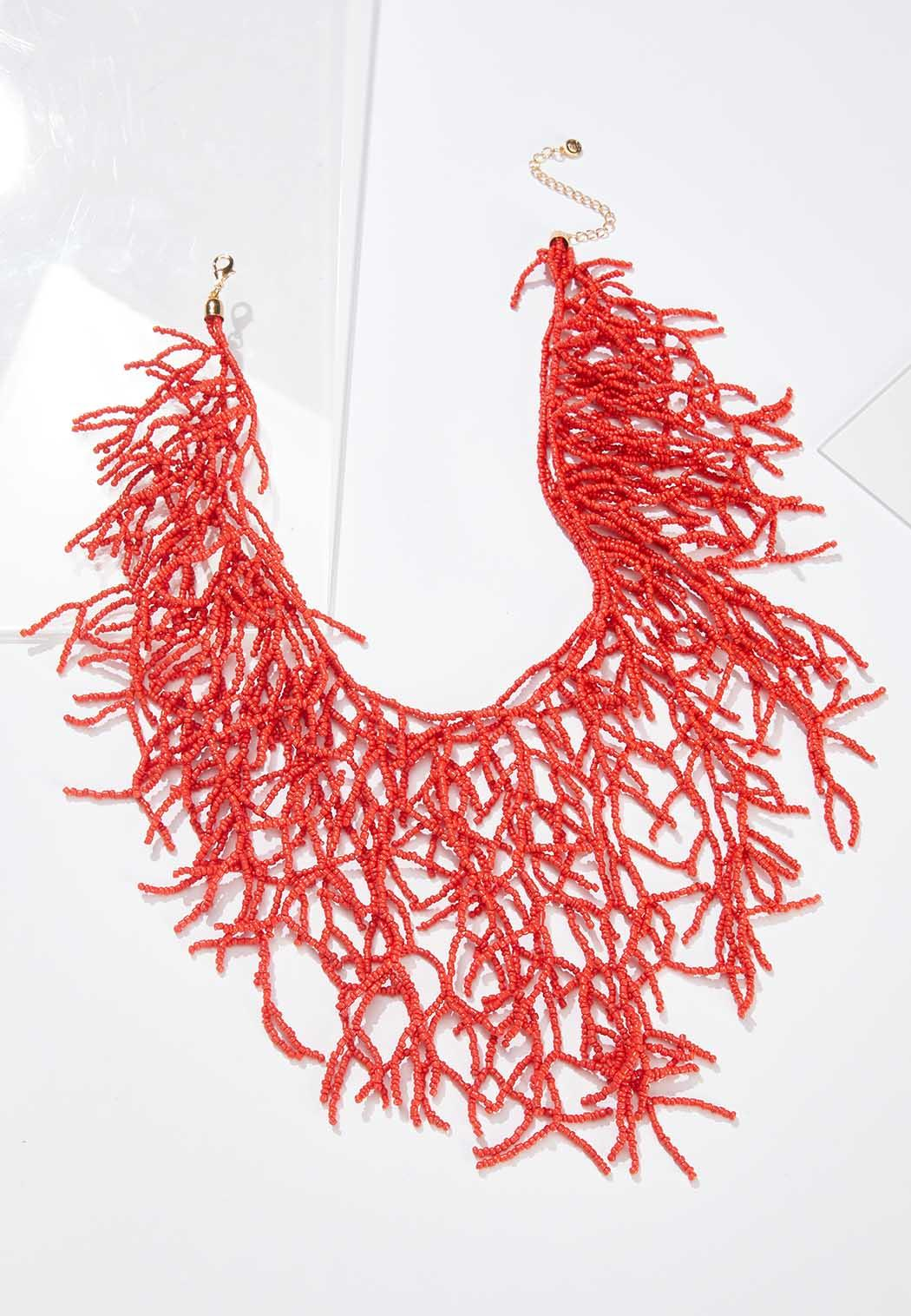 Coral Seed Bead Statement Necklace