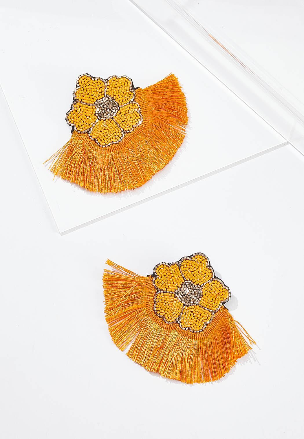 Apricot Fringe Earrings