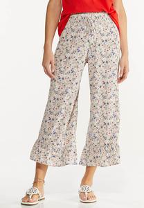 Cropped Ruffled Floral Pants