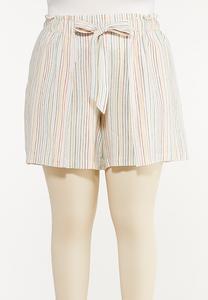Plus Size Rainbow Stripe Linen Shorts