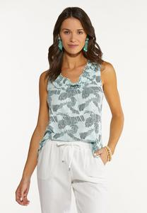 Plus Size Printed Mint Tank