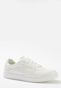 White Lace-Up Sneakers
